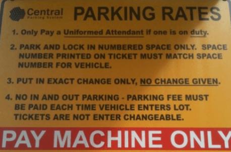 Central Parking Sign